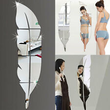 DIY Modern Plume Feather Style Acrylic Mirror Wall Stickers Room Decoration'