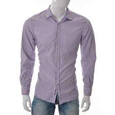 Massimo Dutti Mens Slim Fit Button Up Shirt Long Sleeve Purple White Striped L