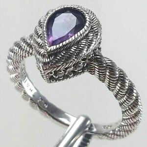 Judith Ripka Sterling Silver Amethyst Pear Cut, CZ Ring - Size 6