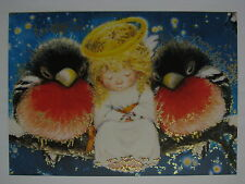 New Lisi Martin double card Christmas and New Year angel child bullfinch Latvia