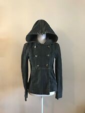 THEORY DOUBLE BREASTED HOODED DARK WASH DENIM JEAN JACKET~UNIQUE~SIZE P/XS SMALL