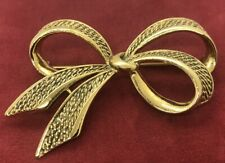 Vintage Fashion Costume Brooch Pin Ribbon Bow Gold Tone