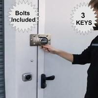 SHED, GARAGE DOOR LOCK AND HASP STAPLE , 3 Keys High Security Side Rear Doors