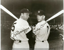 Mickey Mantle and Joe Dimmagio New York Yankee Greats Posing Together Bats LOOK
