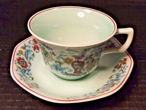 Adams Saraband Tea Cup Saucer Set Light Green Red