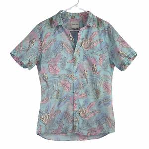 AE American Eagle Tropical Light Blue Bird Floral Button Up Short Sleeve Shirt S
