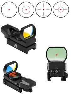 New NCStar D4B Red Dot 4 Reticle Reflex Sight Site Optic BLACK Weaver Mount