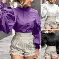 UK Womens Collar Gothic High Collar Victorian Puff Sleeve Tops Shirt Blouse Size