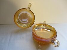 """JEANETTE GLASS FLORAGOLD  """"LOUISA"""" SINGLE HANDLED CANDY DISHES ~EXC. COND."""