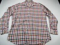 Peter Millar Mens Button Front Shirt Blue Checks Long Sleeve Cotton Golf Large