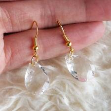 NEW Lovely Womens 1.2 cm Clear Teardrop Bead Dangle Drop Gold-Tone Hook Earrings