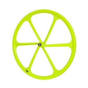 TENY 6 Spoke 700C Fixie Single Speed Road Bike Bicycle Wheel Front Neon Yellow