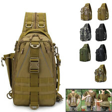 Mens Canvas Sling Bag Travel Hiking Crossbody Outdoor Lure Fishing Bags Backpack