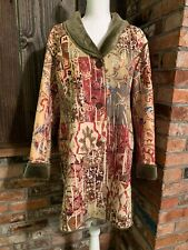 CHICOS 3 XL (16) Long COAT 'Photo Finish' Faux Fur Abstract multicolor $158