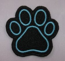 Embroidered Black & Blue Dog Paw Print Dog Cat Pet Jacket Applique Patch Iron On