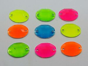 100 Mixed Neon Color Flatback Acrylic Oval Sewing Rhinestone 15X11mm Sew on bead