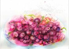 Cherries kitchen original painting watercolor home decor room