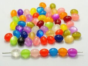 200 Mixed Color Acrylic Cats eye Oval Beads 8X10mm