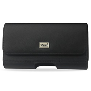 Reiko Horizontal Pouch with Card Holder Belt Clip for iPhone 6/6s - BLACK
