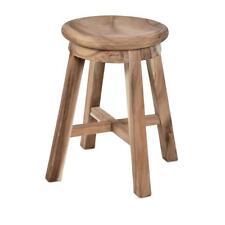 DIVERO Hocker rund Sitzhocker Holzhocker massiv Suar Holz unbehandelt Handarbeit