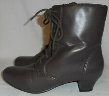 ANGEL FLEX, LADIES BROWN LACE UP & SIDE ZIP ANKLE BOOTS. SIZE 7 M.