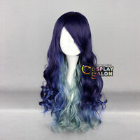Anime Ombre Mixed Multi Color Christmas Lolita Curly Long Cosplay Party Wig+Cap