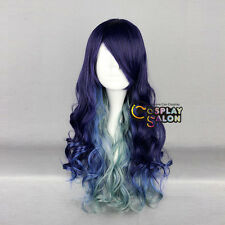 Anime Ombre Mixed Multi Color Halloween Lolita Curly Long Cosplay Party Wig+Cap