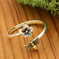 Sterling Silver and Gold Cherry Blossom Flower and Honey Bee Adjustable Ring