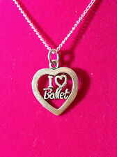 Charm Necklace (Silvertone) - I Love Ballet