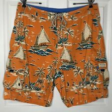 J Crew Mens 34 Orange Boat Board Shorts Swim Trunks Original Swimwear Cargo