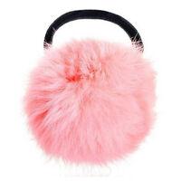 Pink Pom Pom Decor Black Stretchy Band Hair Tie Ponytail Hairband HY
