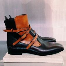 Mens Latest Long Strips on Buckles Luxury Italian Leather Boots, botas de hombre