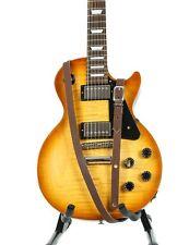 "3/4"" Wide Dark Brown Saddle Leather Buckle Guitar Strap"