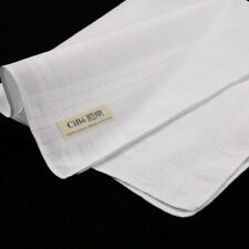 M002: 12 pieces classic white cotton satin banded men's Handkerchief
