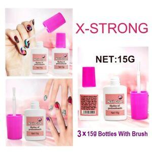3 X 15g EXTRA STRONG NAIL GLUE WITH BRUSH UV GEL ACRYLIC NAILS💅FAKE NAIL GLUE