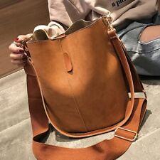 Women Large Capacity Messenger Bag Vintage Matte Bucket Shoulder Bag PU Leather