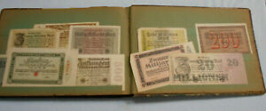 #EE.  OLD ALBUM WITH 220 GERMAN etc NOTGELD NOTES - INFLATIONARY PERIOD POST WWI