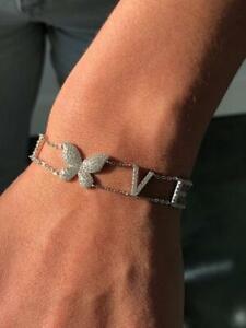 "Platinum Sterling Silver Pave White Sapphire LOVE Butterfly Stack Bracelet 7"" L"