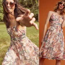 NWT Anthropologie Maeve Mackenzie Multi Colored Sleeveless Floral Mesh Dress 8
