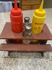 Vintage Wood Mini Picnic Table Condiment Holder Ketchup, Mustard, Salt, Pepper