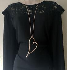 "Beautiful 32"" long ROSE GOLD tone & large PLAIN heart pendant  chain necklace"