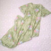 Vtg 70s Women Medium Maxi Dress Green Floral V Neck Flutter Sleeve Empire Waist