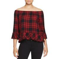 Sanctuary Womens Julia Red Plaid Off-The-Shoulder Casual Top Shirt S BHFO 5232