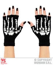 Fingerless Skeleton Gloves Ghost Halloween Biker Fancy Dress Accessory