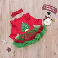 Newborn Girl Baby Clothes Christmas Tree Party Romper Headband Tutu Dress Outfit