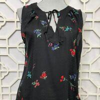 Old Navy Women's Size Medium M Black Floral Sleeveless Rayon Tank Top Shirt