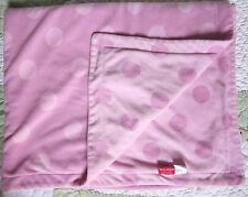 Amy Coe Pink Reversible Soft Fleece w Big Polka Dots Baby Girl Blanket EUC