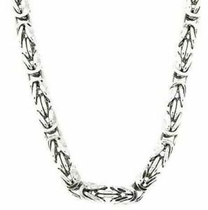 925 Sterling Silver MENS KING FLAT BYZANTINE Chain 7mm HEAVY