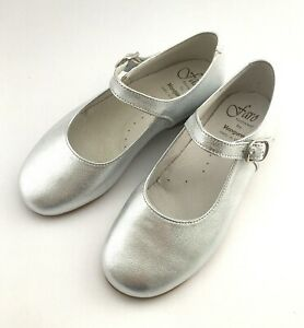 Faro 4277 girls silver metallic leather Mary Jane US 12 EURO 29
