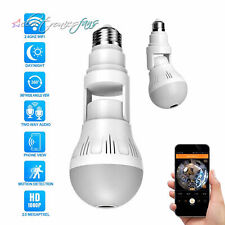 360° Panoramic Hidden Wifi Camera Light Bulb 1080P Security IR Cam Motion Detect